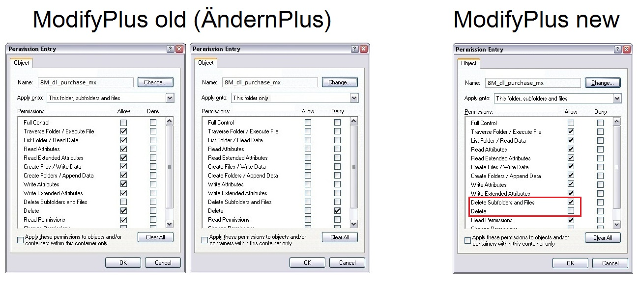 Comparison of ModifyPlus (old) and ModifyPlus (new).