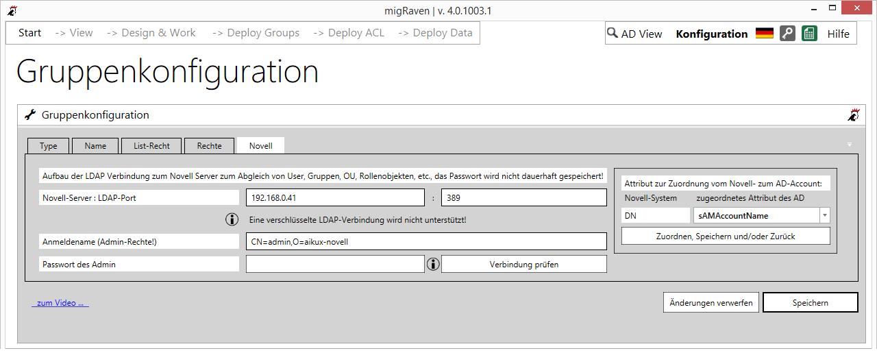 Novell-Server- und Novell-Admin-Name können in der Konfiguration von migRaven gespeichert werden, rechts der Eintrag für das User-Mapping