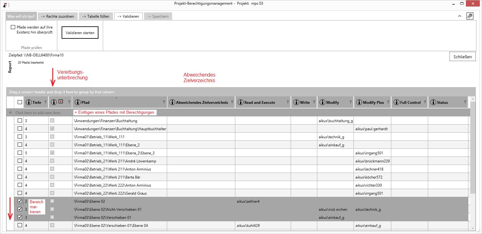 Berechtigungs-Tabelle