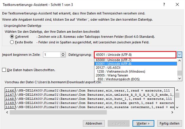 Dateiursprung UTF-8